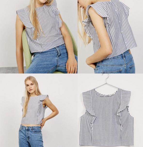 Ubrania Bershka bluzka top koszulka pasy guziki