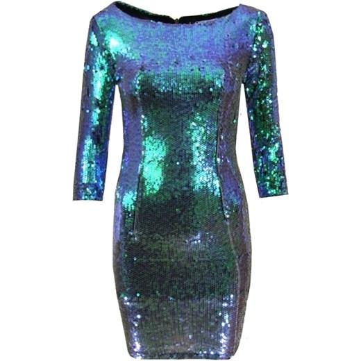 Sukienka w cekiny zielono niebieskie...