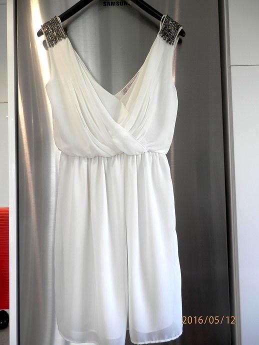 Suknie i sukienki Sukienka Zara Wesele Impreza Kremowa Rozkloszowana