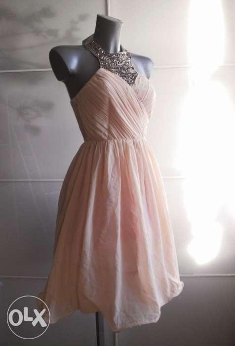 Suknie i sukienki Little Mistress Asos kremowa midi tiulowa