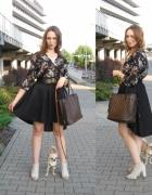 Asymetryczna spódnica i bluzka floral