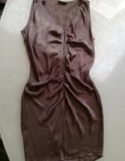 Sukienka beżowa kakaowa M 38 ukrywa fałdki lub jako ciążowa