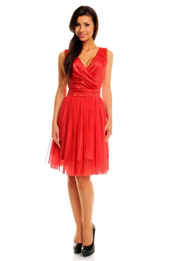 85c3a78e3f Suknie i sukienki KARTES Tiulowa sukienka koronką wesele bal 44 XXL