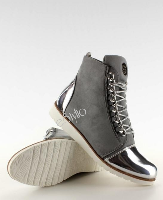 Szare sneakersy metalik noski hit na jesień 2016 w Botki