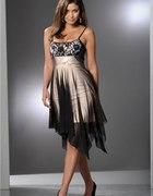 Czarno beżowa sukienka z siateczką i koronką 36