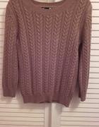 Brązowy sweter warkocz H&M XS...