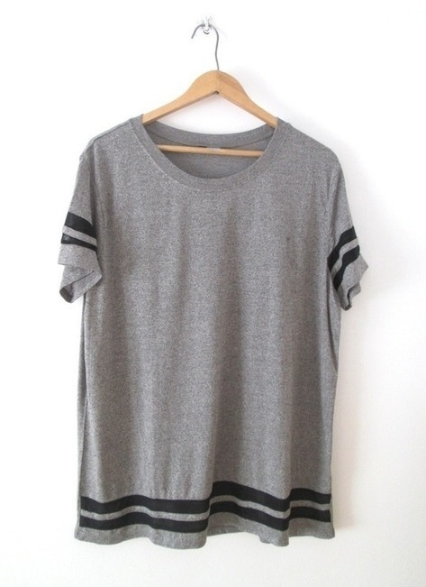 T-shirt Szara koszulka H&M 40 L paski oversize