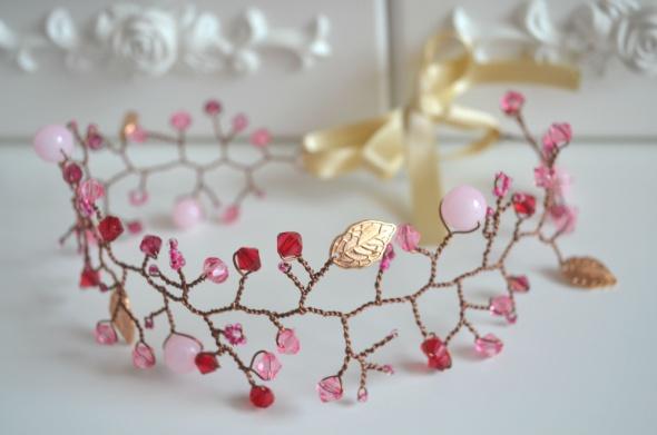 Dodatki ślubne Ślubny wianek Opaska Różowe Jadeity