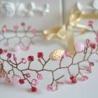 Ślubny wianek Opaska Różowe Jadeity