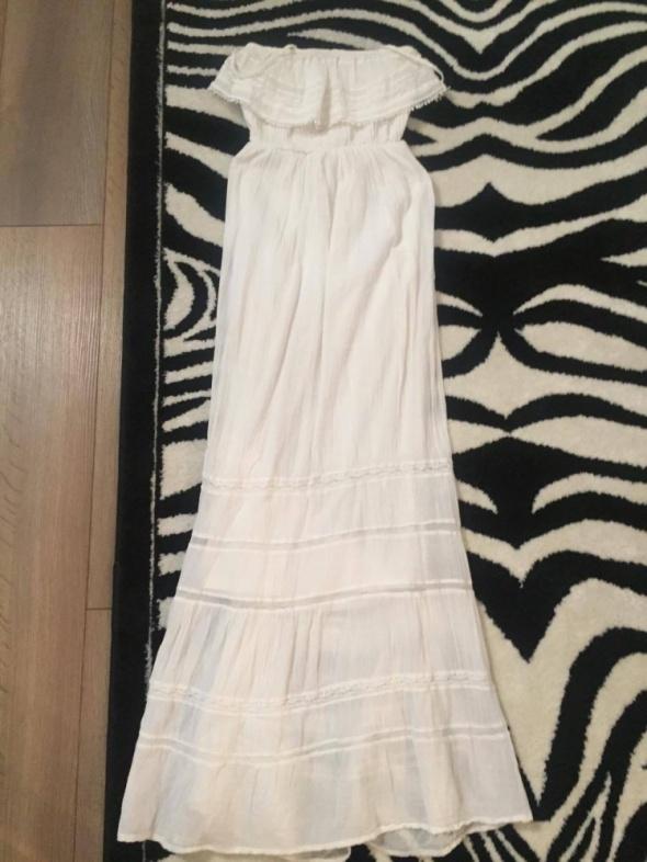 3c08459930 długa sukienka Bershka biała letnia koronka w Suknie i sukienki ...