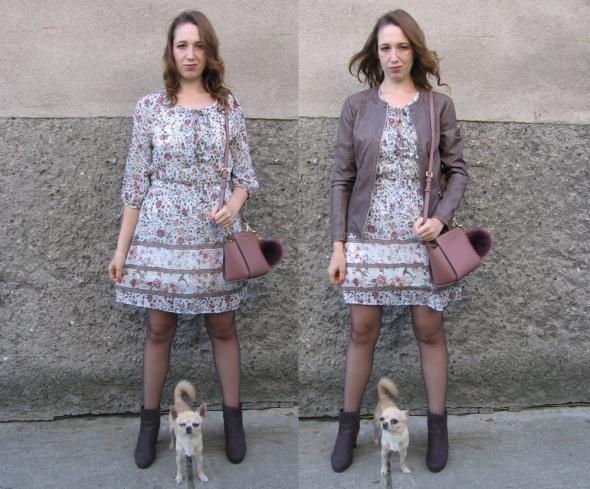 Mój styl Szyfonowa sukienka i botki