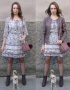 Szyfonowa sukienka i botki