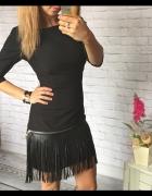 Sukienka z fredzlami skórka MEGA