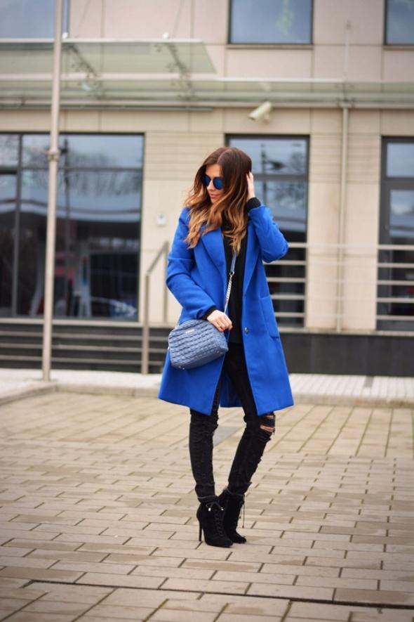 Odzież wierzchnia Kobaltowy płaszcz