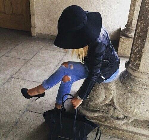 Eleganckie Jeans i kapelusz