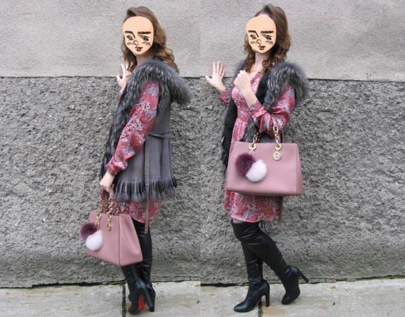 Mój styl Sukienka malinka i kamizelka