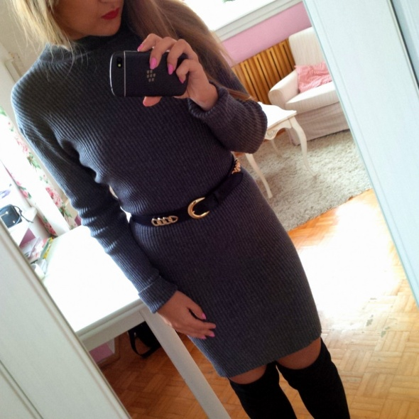 Mój styl prążkowana sukienka