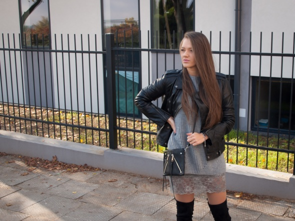 Codzienne Over the Knee Boots & Leather Jacket