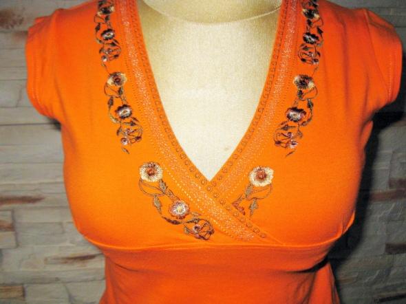 Bluzki Pomarańczowa haftowana bluzka na lato M