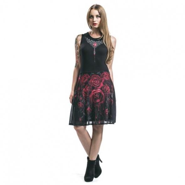 Wieczorowe Sukienka Krwawe róże plus rękawki gothicana