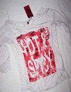 Ann Christine bluzka oversize szara czerwony napis
