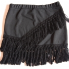 Pull&Bear spódnica czarna mini frędzle boho