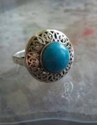 stary srebrny pierścionek warmet turkus