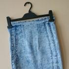 mini jeansowa spódnica wysoki stan marmurkowa