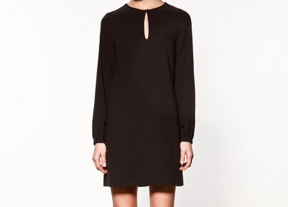 Czarna sukienka ZARA długi rękaw minimalizm w Suknie i