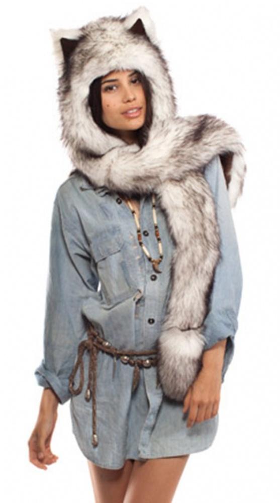 3w1 czapka szalik rękawiczki husky wilk