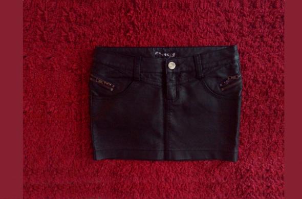 Spódnice czarna skórzana spódniczka spodenki zipy