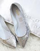 balerinki brokatowe srebrne 40 skóra w szpic