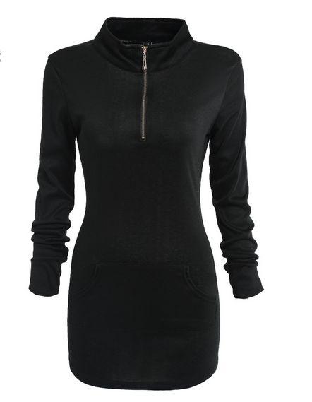 Tunika Bluza długa czarna z zamkiem