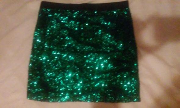 Spódnice zielona cekinowa spodnica