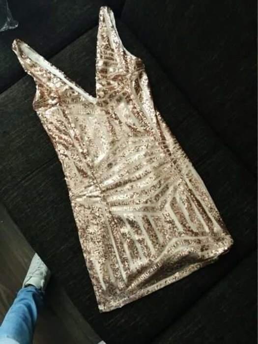 nowa seksowna sukienka złota efetowana oryginalna