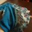 wiosenna chustka niebieska z frędzlami