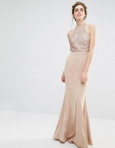 ASOS maxi pudrowa sukienka cekiny wesele 36 w Suknie i