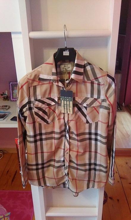 Nowa asymetryczna koszula w kratkę burberry