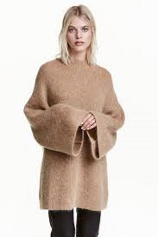 Wełniany sweter z szerokimi rękawami H&M...