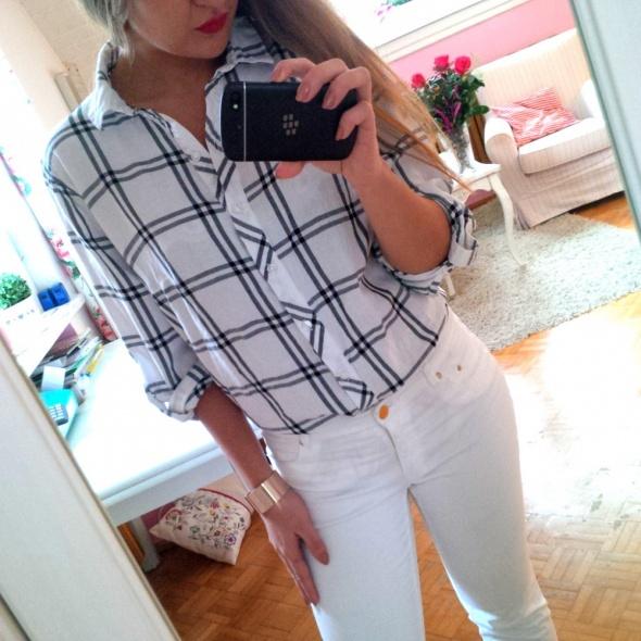 776d042b5f28f2 Biała koszula w kratkę kratka HM XL w Koszule - Szafa.pl