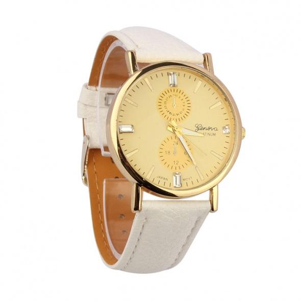 Zegarki Biały Zegarek Geneva Platinum