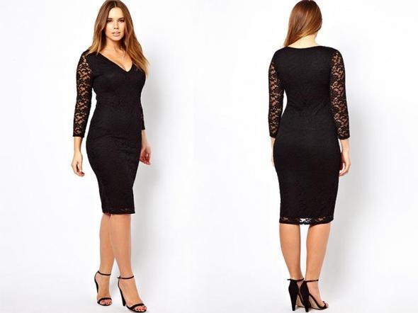 ede9391c4a Czarna ELEGANCKA Sukienka MIDI dla Puszystych 46 w Suknie i sukienki ...