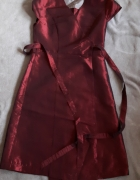 sukienka wieczorowa z burgundowej czerwonej tafty...