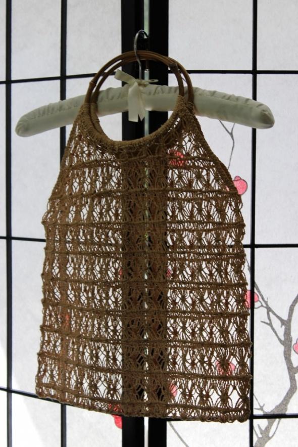 Torba na zakupy vintage siatka plecionka handmade