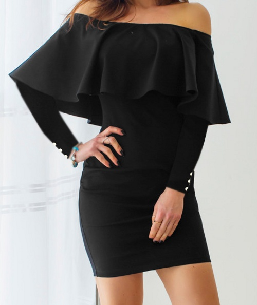5238981b Czarna Sukienka Falbana Odkryte Ramiona Hiszpanka w Suknie i ...