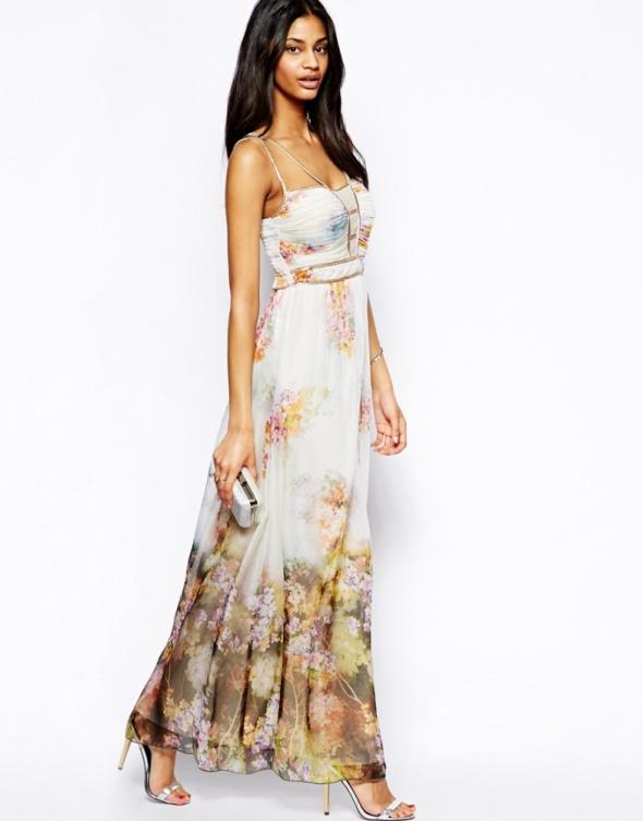 Asos Needle maxi nude zdobiona suknia koraliki 36 w Suknie