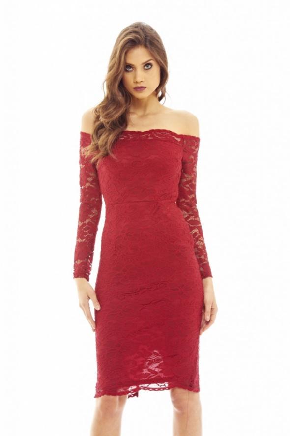 Suknie i sukienki Bordowa koronkowa sukienka ołówkowa midi