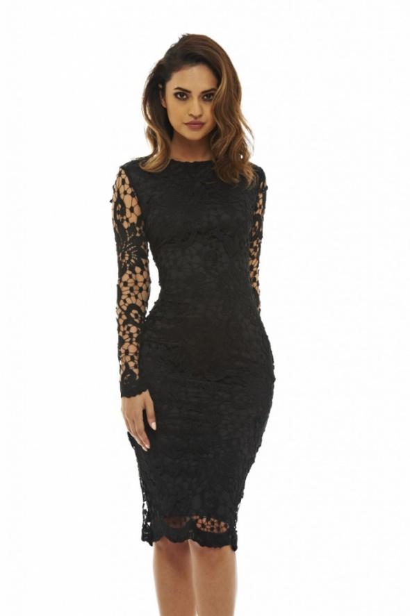 1ac28f9938 Czarna koronkowa sukienka ołówkowa midi w Suknie i sukienki - Szafa.pl