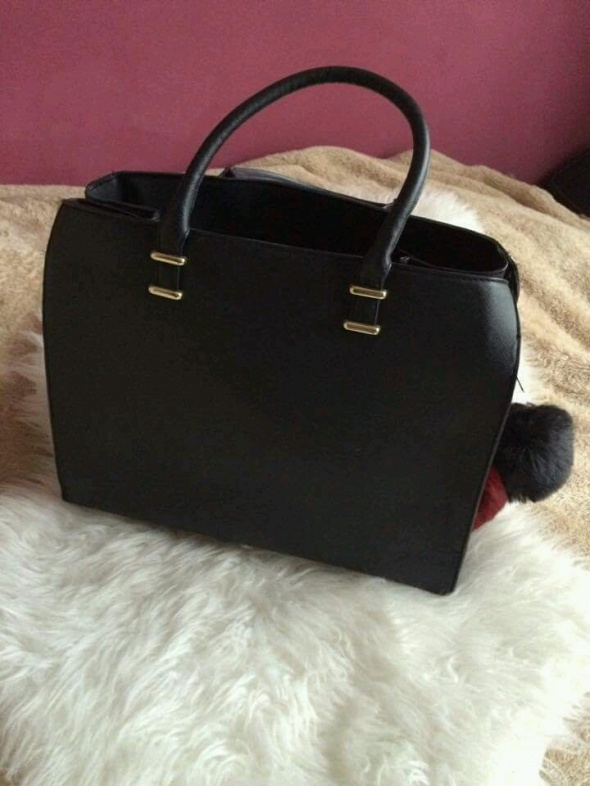 cb3e30721e65c Torebki na co dzień h&m czarna torba torebka shopper maxi city bag złote  elementy