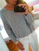 Szary sweter oversize cwieki C&A crop top